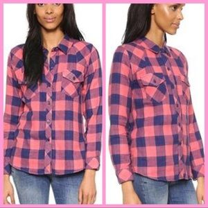 """RAILS   """"Kendra"""" Coral $ Navy Plaid Shirt"""